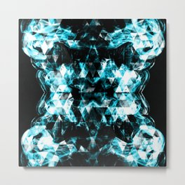Electrifying blue sparkly triangle flames Metal Print