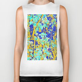 green maple tree leaf with blue and yellow abstract background Biker Tank