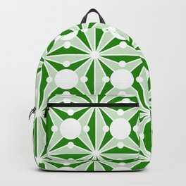 Abstract geometric pattern - green and white. Backpack
