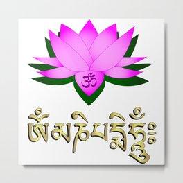 Lotus flower, om symbol and mantra 'om mani padme hum' Metal Print