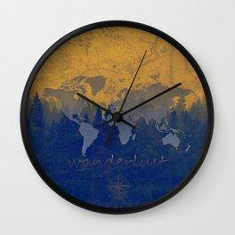 world map wanderlust forest yellow Wall Clock
