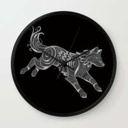 Shimmering Silver Ghost Wolf Wall Clock