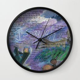 Issaquah Washington...Mixed Media Art by Seattle Artist Mary Klump Wall Clock
