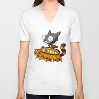 invader zim V-neck T-shirts featuring My Invader Neighbor by HelloTwinsies