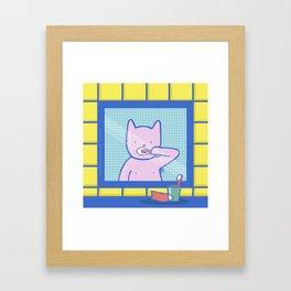 Fox Brushes His Teeth Framed Art Print
