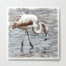 Knee Deep Flamingo Watercolor Metal Print