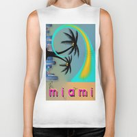miami Biker Tanks featuring Miami by Dunksauce Art
