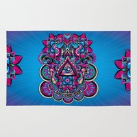 hamsa Area & Throw Rugs featuring HAMSA by Fly Design Studio