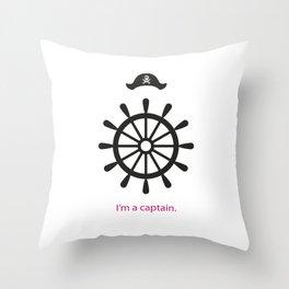 I'm a captain.(on white) Throw Pillow