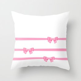 Pink bows Throw Pillow