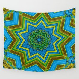 Lovely Healing Mandalas in Brilliant Colors: Blue, Yellow, Gold, and Green Wall Tapestry