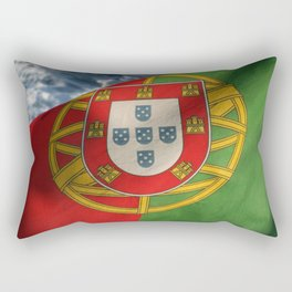 Beautiful Portuguese flag waving with the calm breeze on the ocean. Rectangular Pillow