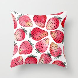 Strawberries watercolor and ink  Throw Pillow