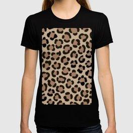 Trendy Leopard Print Simulated Fur Pattern T-shirt