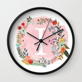 Flower Wreath with Personalized Monogram Initial Letter I on Pink Watercolor Paper Texture Artwork Wall Clock
