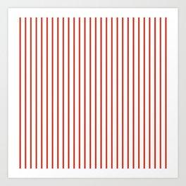 Dahlia Red Pinstripe on White Art Print
