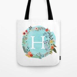 Personalized Monogram Initial Letter H Blue Watercolor Flower Wreath Artwork Tote Bag