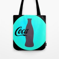 coca cola Tote Bags featuring Coca cola by Mary Stephenson