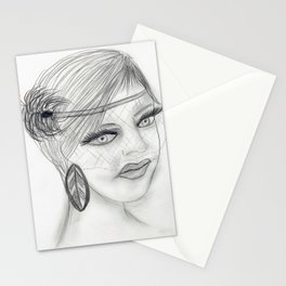 Veiled Deco Girl Stationery Cards