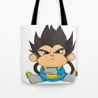 vegeta Tote Bags featuring Monkey Vegeta by Kame Nico