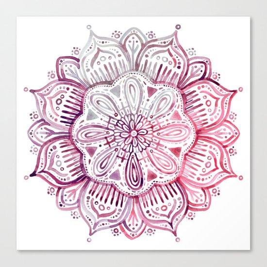 Burgundy Blush Watercolor Mandala Canvas Print
