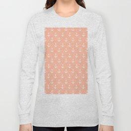 Coral white trendy modern nautical anchor pattern Long Sleeve T-shirt