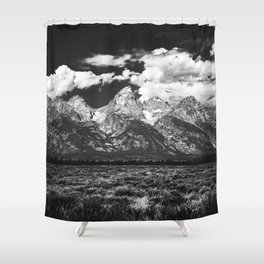 Mountain Summer Escape - Black and White Tetons Shower Curtain