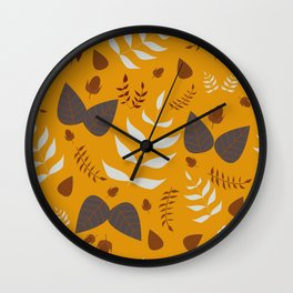 Autumn leaves and acorns - ochre and gray Wall Clock