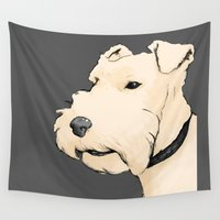 terrier Wall Tapestries featuring Terrier portrait by Turron