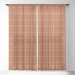Windowpane Check Grid (white/burnt orange) Sheer Curtain