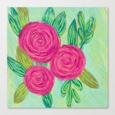 Roses painting chalk Canvas Print