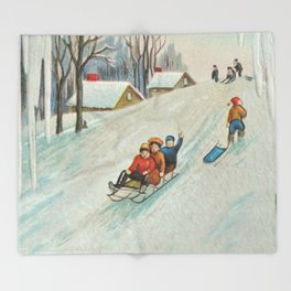 Happy vintage winter sledders Throw Blanket