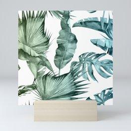 Tropical Palm Leaves Turquoise Green Blue Gradient Mini Art Print