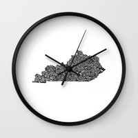 kentucky Wall Clocks featuring Typographic Kentucky by CAPow!