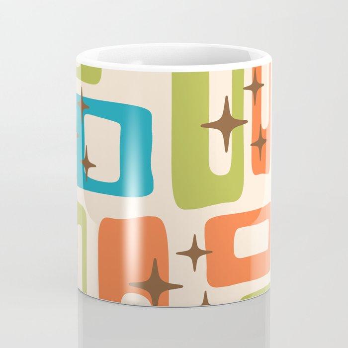 Retro Mid Century Modern Abstract Pattern 921 Orange Chartreuse Turquoise Coffee Mug