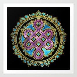 Endless Knot in Mandala Lotus shape Art Print