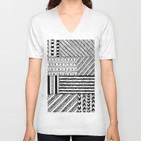 black white V-neck T-shirts featuring Black&White White&Black by Kaitlyn_Michelle_