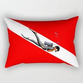 Diver And Dive Flag Rectangular Pillow