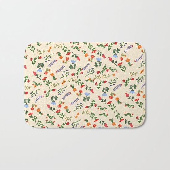 Bright Vintage Flower Pattern Bath Mat