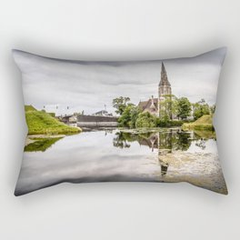 Church in Copenhagen reflections on lake at sunset Rectangular Pillow