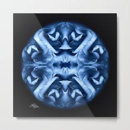 Blue Rose Mandala Metal Print