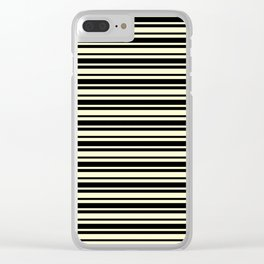 Cream Yellow and Black Horizontal Var Size Stripes Clear iPhone Case
