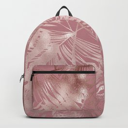 Gentle Pink and Feathery Silver Palm Leaves Pattern Backpack