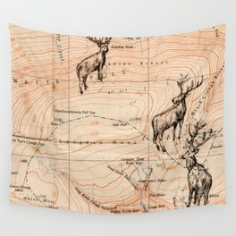 Stags walking the map Wall Tapestry