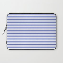 Small Horizontal Cobalt Blue and White French Mattress Ticking Stripes Laptop Sleeve