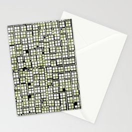 Yellow green pixels fashion Stationery Cards