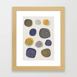 Abstract Circles in Mustard, Charcoal, and Navy Framed Art Print