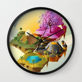 floating islands in the sky Wall Clock