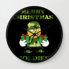 Merry Christmas emoji soldier Wall Clock