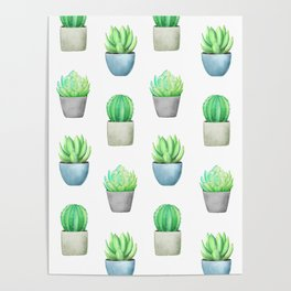 Succulent and Cactus Garden Pots Pattern Poster